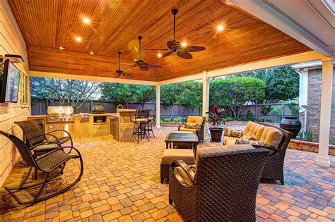Out Door Patio Tongue And Grove Patio Cover Plus Outdoor Kitchen Hhi Patio Covers