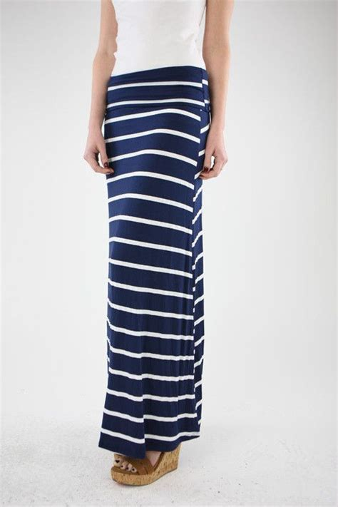 Navy Stripes Skirt navy stripe maxi skirt my style
