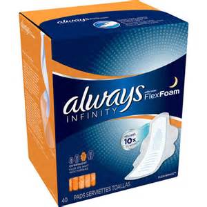 Always Infinity Overnight Always Infinity Overnight Pads With Wings 40 Count