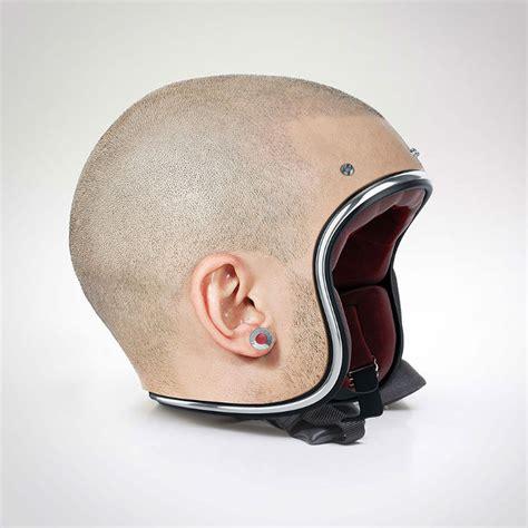 motorcycle helmets that look like real human heads