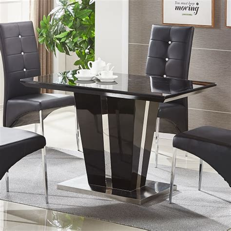 black small dining table glass dining table small in black gloss and chrome