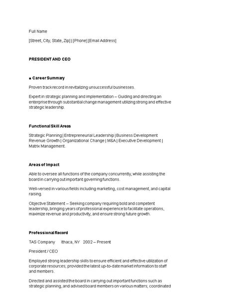 Ceo Resume Templates by 24 Award Winning Ceo Resume Templates Wisestep