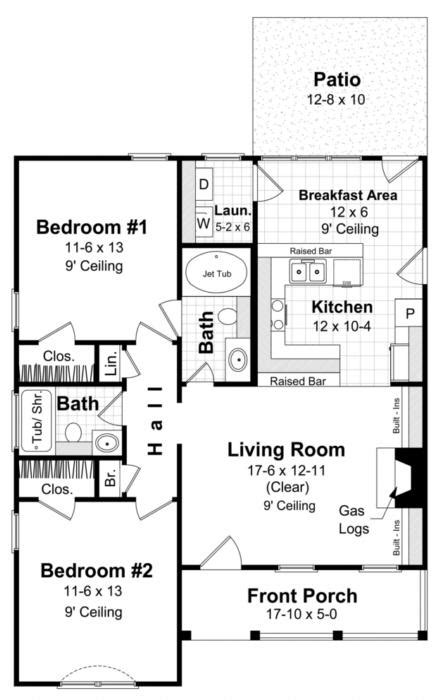 small house floor plans 1000 sq ft traditional plan 1 000 square 2 bedrooms 2 bathrooms 348 00002