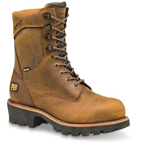 timberland logger boots timberland pro s rip saw waterproof 9 quot steel toe