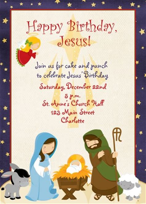 birthday card template religious invitation jesus birthday