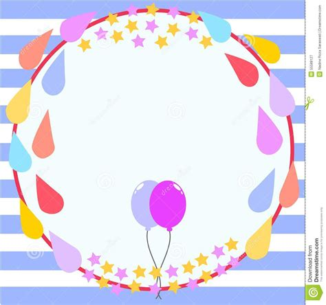 picture frame birth day card template circle frame birthday card template stock illustration