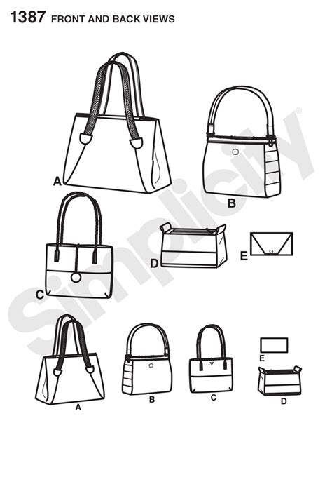 pattern drafting for handbags simplicity 1387 bags in assorted sizes