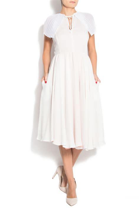 Midi Dress 182 pleated cape collar veil midi dress midi dresses made to