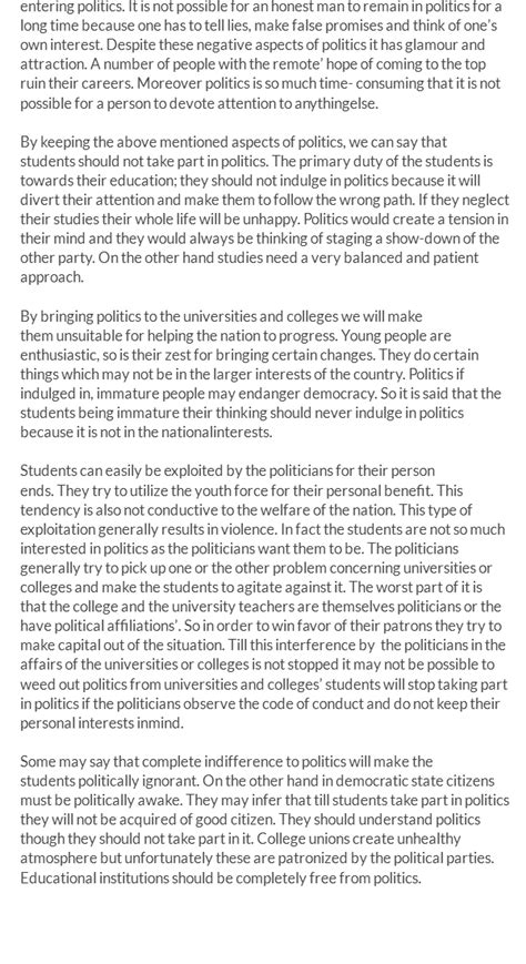 Student In Politics Essay by Easy And Outstanding Essay On Students And Politics For 12th And 10th Classes Free