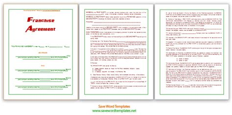 franchise business model template franchise agreement template save word templates