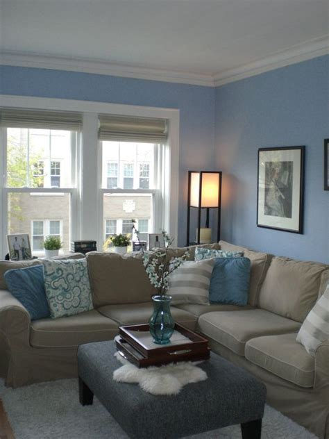 light blue walls living room 26 cool brown and blue living room designs digsdigs