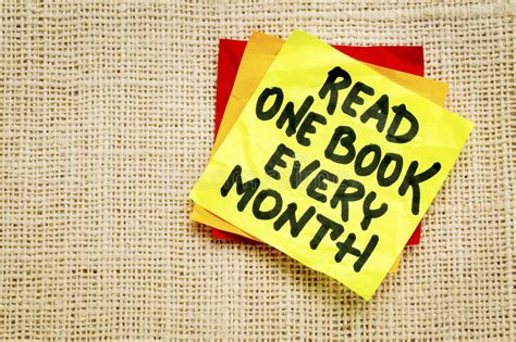 read one read one book every month reminder note stock photo