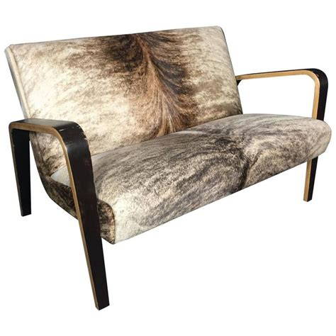 American Upholstery Furniture by American Mid Century Bentwood Settee Cowhide Upholstery