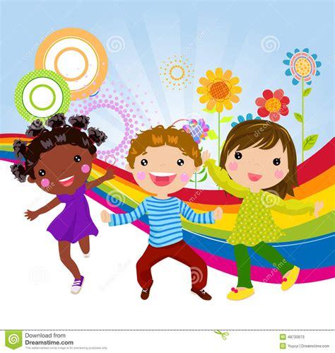imagenes de niños felices animados tres ni 241 os felices ilustraci 243 n del vector ilustraci 243 n de