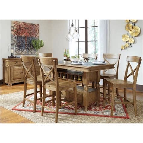 ashley trishley rect dining room 9 piece set furniture d659 32 ashley furniture rectangular counter table with