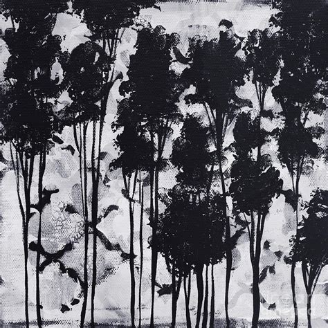 black and white paintings whimsical black and white landscape original painting