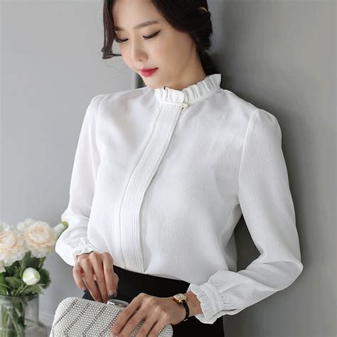 High Neck Blouse S Shirts by 2018 New White Casual Blouses High Neck Blusas