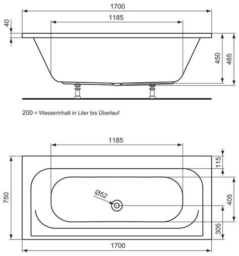 abmessungen badewanne ideal standard connect playa duo badewanne 170 x 75 cm
