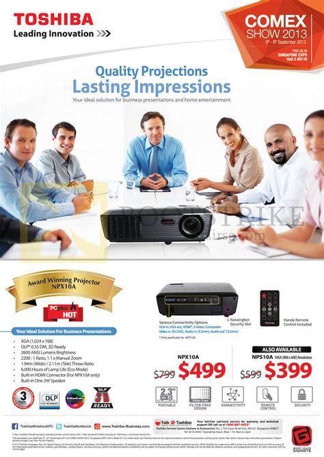Proyektor Toshiba Npx10a toshiba projectors npx10a nps10a comex 2013 price list brochure flyer image