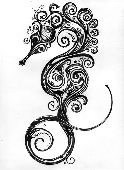 tattoo drawings on paper seahorse by brian jetton inspired by si medium