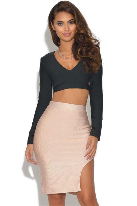 Set Top Skirt Jy772819 Gold Size M vestry 2 co ord bandage top and skirt set in black