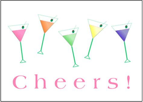 martinis cheers rella stationery and blank cards