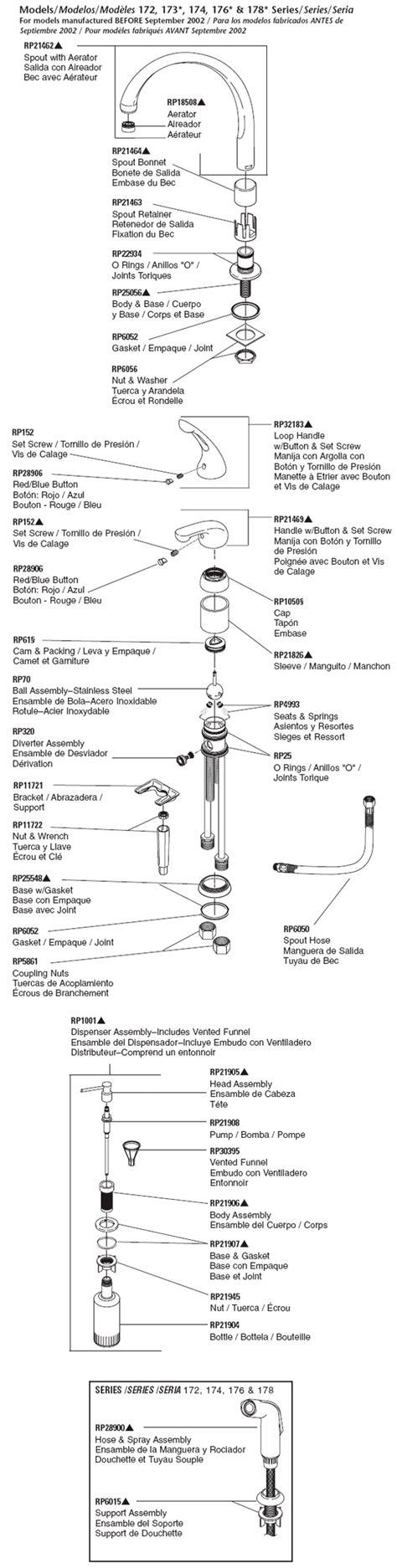 Delta Faucet 172 by Plumbingwarehouse Delta Kitchen Faucet Parts For
