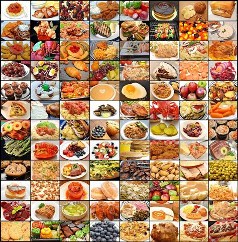 large collage of many different foods stock photo