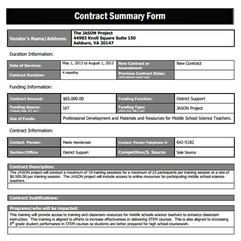 contract summary template sle contract summary template 10 free documents in pdf