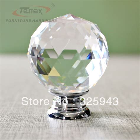 2x40mm Clear Round Glass Cabinet Drawer Crystal Knobs And Glass Door Handles And Knobs