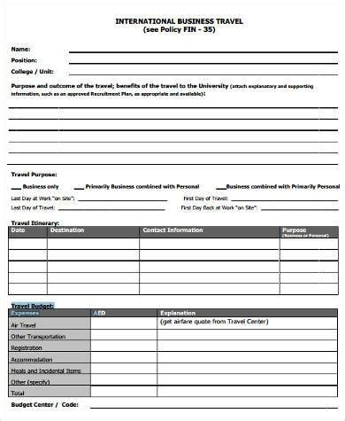business travel budget template sle business budget forms 7 free documented in pdf doc