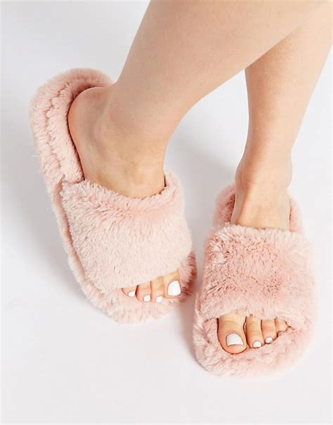 fluffy slippers for new look new look nider pink fluffy slippers
