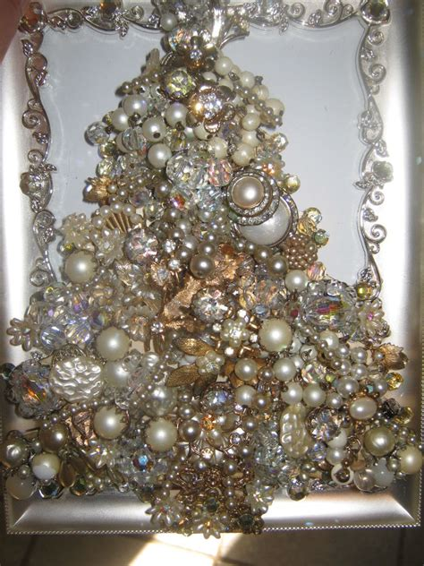 vintage antique jewelry rhinestones christmas tree picture