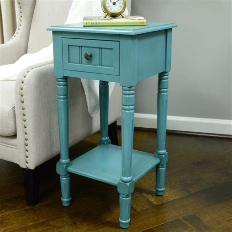decor therapy end table decor therapy simplify blue 1 drawer end table fr1549