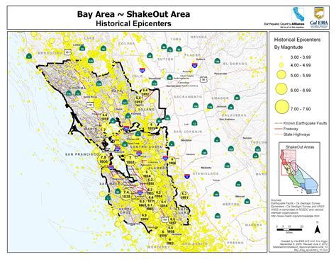area map great shakeout earthquake drills bay area