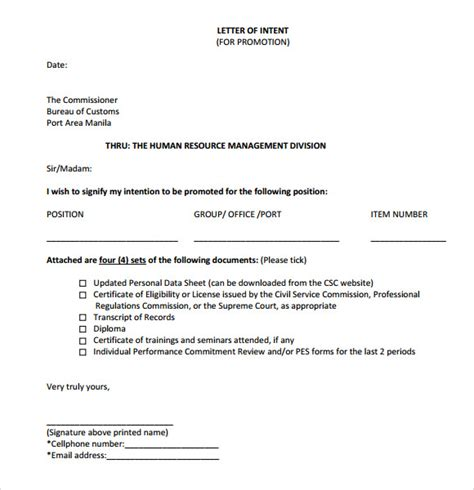 Service Promotion Letter Sle Letter Of Intent For Promotion 9 Documents In Word Pdf