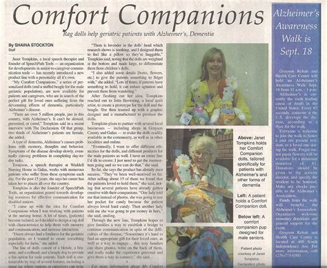 Comfort Companions by Comfort Companion Rag Dolls Help Geriatric Patients With Alzheimer S Comfort Companion