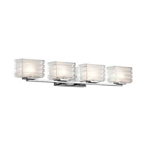 Modern Bathroom Lighting Lowes Shop Kichler Lighting 4 Light Bazely Chrome Modern Vanity