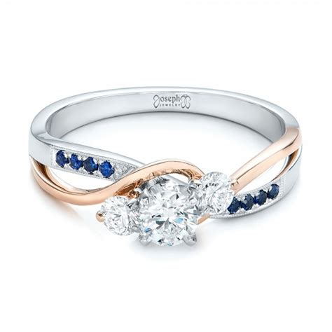 two tone engagement rings custom two tone and blue sapphire engagement ring