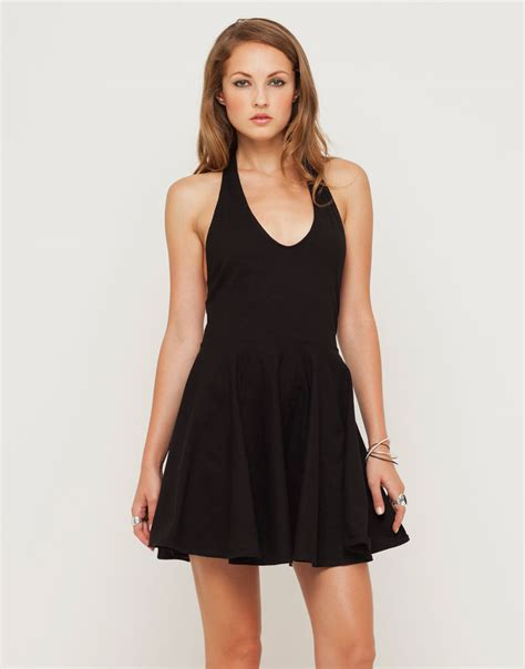 Halterneck Dress buy motel nessy halter neck skater dress in black at motel rocks motel rocks