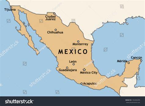 major map mexico map major mexican cities mexico stock vector