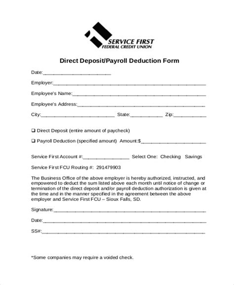 payroll deduction form template employee payroll deduction authorization form template