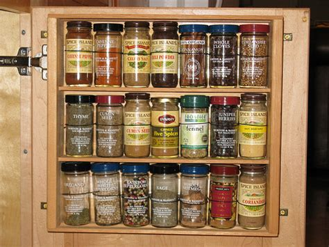 Spice Cabinet With Doors 5 Space Saving Solutions To Mount Inside Kitchen Cabinet Doors Shelterness