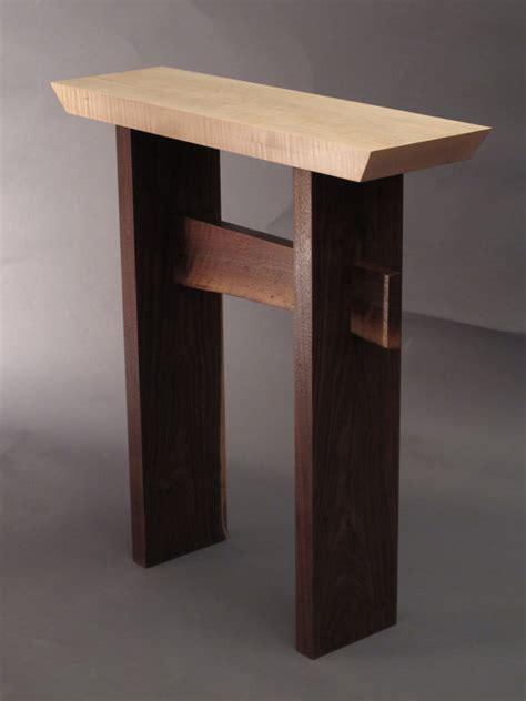 Modern Entryway Table Narrow Side Table W Live Edge Stretcher By Mokuzaifurniture