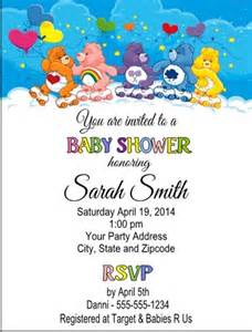carebears care bears baby shower or birthday invitations custom cutecreationsshoppe