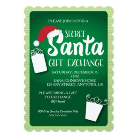 gift exchange invitations secret santa invitations announcements zazzle