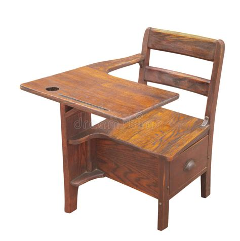 wooden school desk isolated royalty free stock images