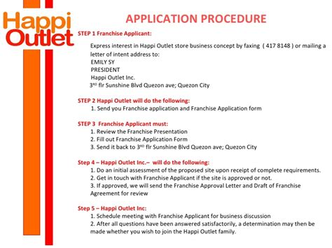 Letter Of Intent Sle For Franchise Happi Outlet Franchisee Presentation