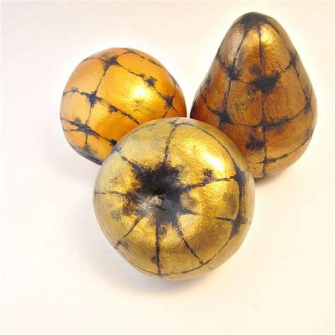 Handmade Fruits - handmade paper mache accent fruit set of three decorative