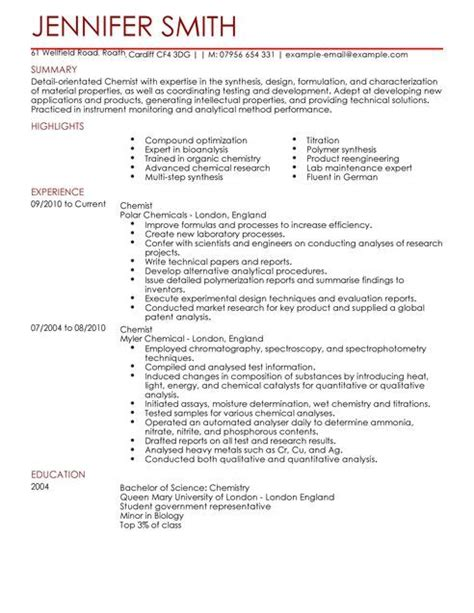 Science Resume Template by Chemist Cv Template Science Cv Exles Livecareer